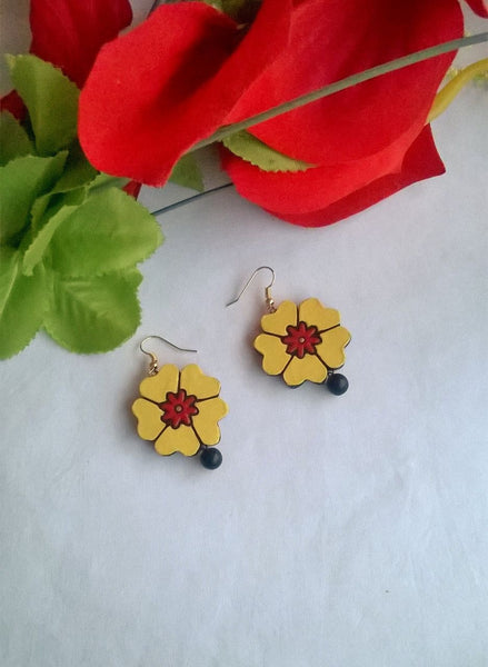Yellow Flowery Terracotta Earring