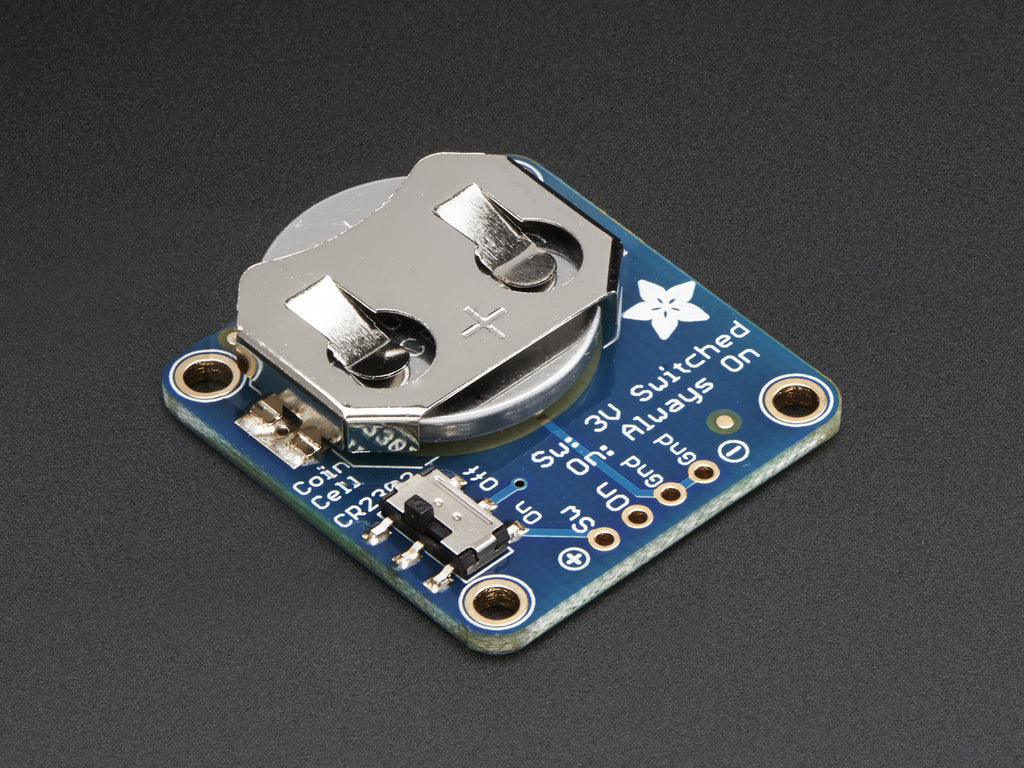 A product image of Adafruit 20mm Coin Cell Breakout w/On-Off Switch (CR2032)
