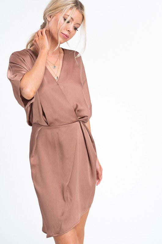 La Miel Sleek Babe Bronze Satin Dress
