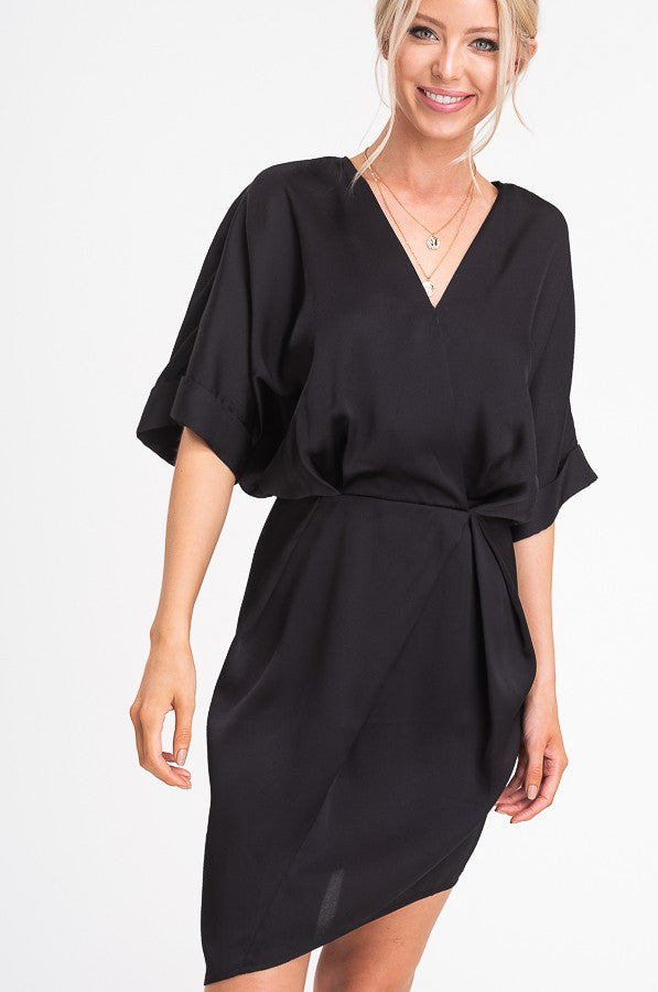 La Miel Sleek Babe Black Satin Dress