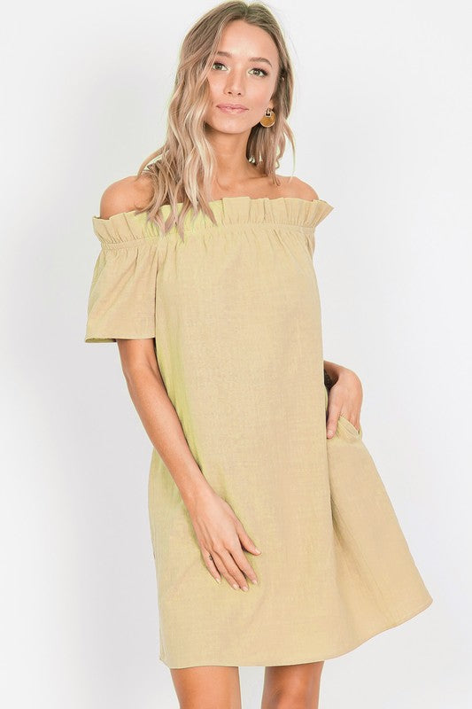 Yellow off the Shoulder Ruffle Dress