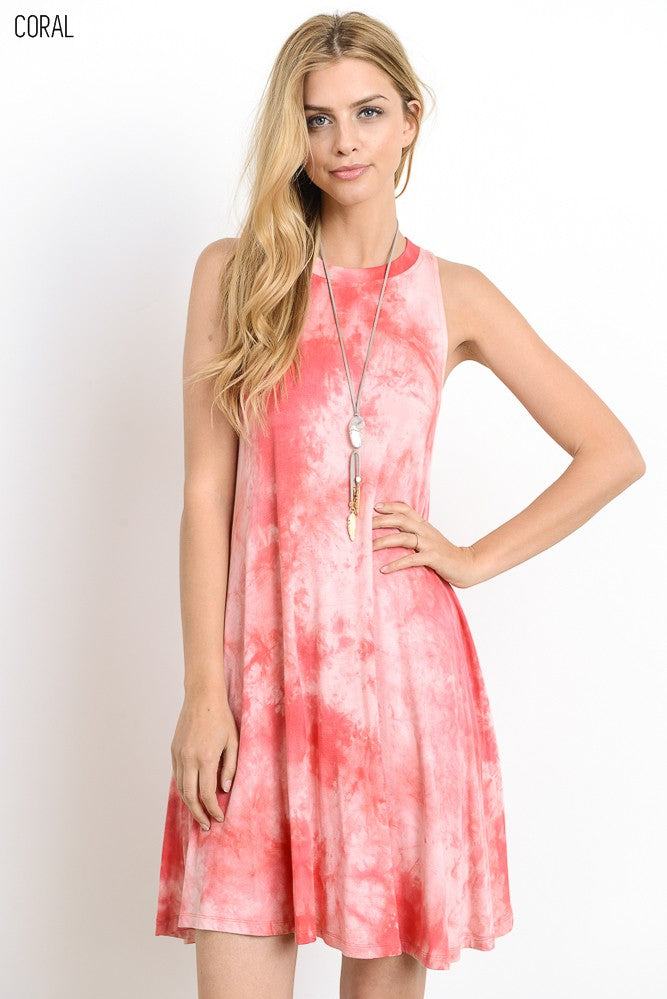 Coral Tie-Dye Dress - dk8046e-Lazy J Ranch Wear-Lazy J Ranch Wear