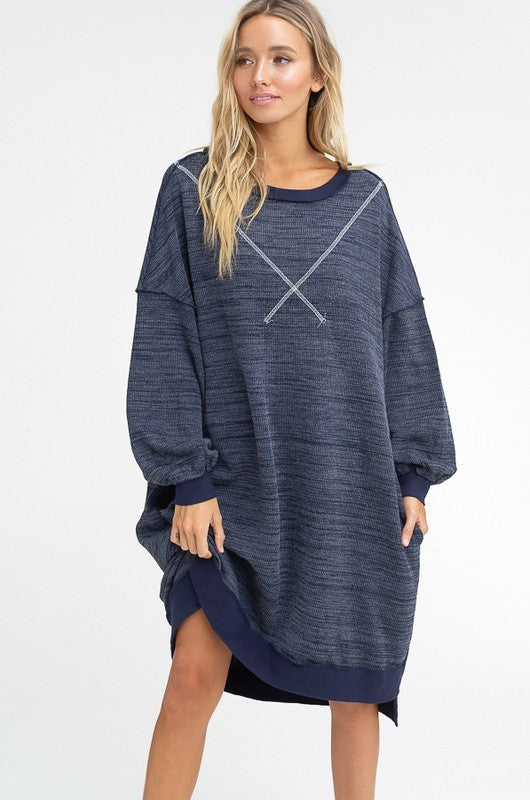 Listicle Navy Sweatshirt Women's Dress