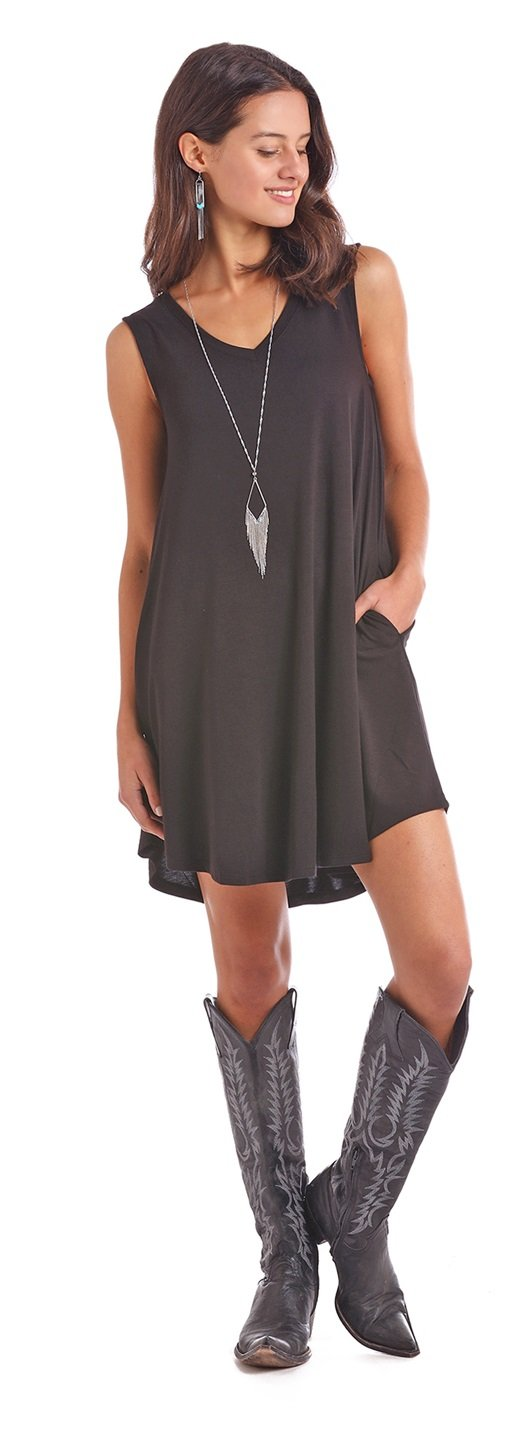 Panhandle Sleeveless Black Dress-panhandle-Lazy J Ranch Wear