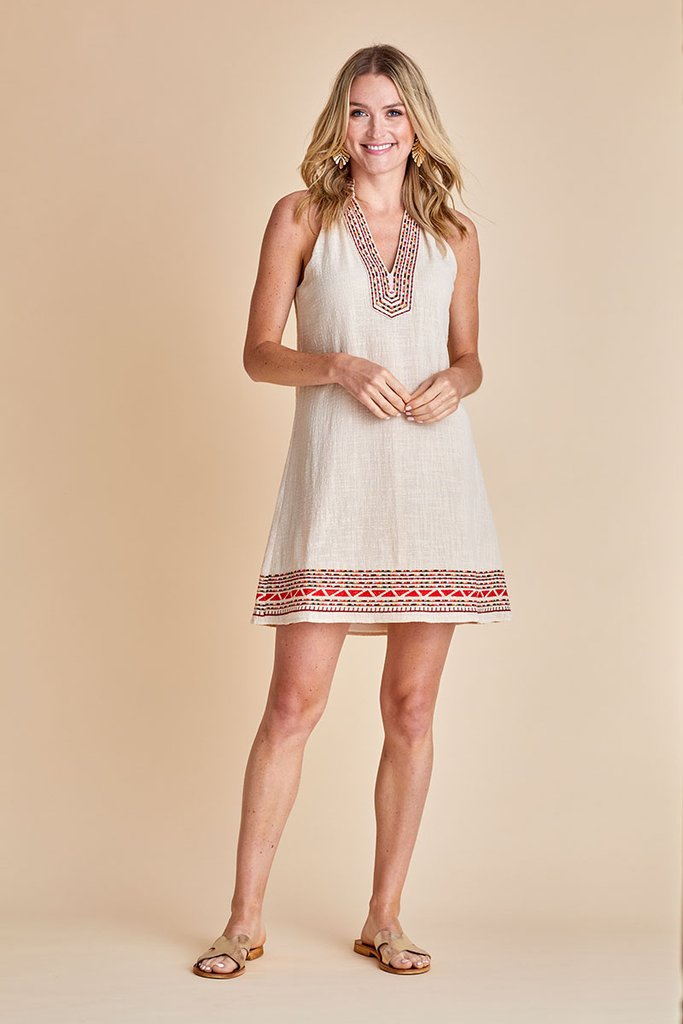THML Embroidered Halter Women's Dress