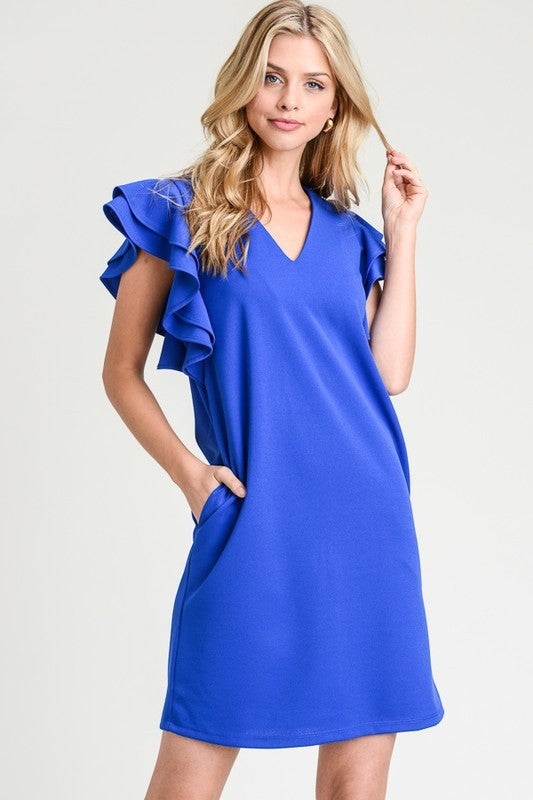 First Love Blue Ruffle Sleeve Dress-First Love-Lazy J Ranch Wear