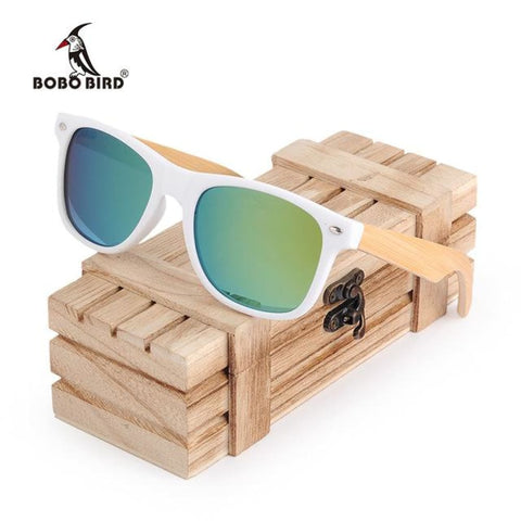 Image of Huntington Wood Sunglasses by Jonny B - Plastic Frames - White and Green - Sunglasses