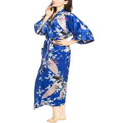 Elegant Long Floral Silk Kimono Womens Robe, Small to 3XL - Gifts Are Blue - 8