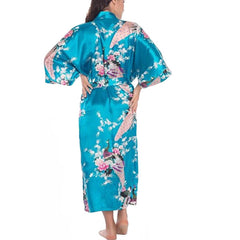 Elegant Long Floral Silk Kimono Womens Robe, Small to 3XL - Gifts Are Blue - 7