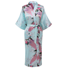 Elegant Long Floral Silk Kimono Womens Robe, Small to 3XL - Gifts Are Blue - 5