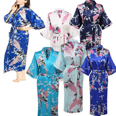 Elegant Long Floral Silk Kimono Womens Robe, Small to 3XL - Gifts Are Blue - 1