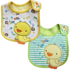2 Pack of Baby Waterproof Cotton Bibs with Embroidered Designs