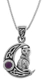 Jewelry Trends Sterling Silver Celtic Crescent Moon and Cat Pendant with Purple Amethyst on 18 Inch Chain Necklace