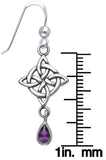 Jewelry Trends Sterling Silver and Purple Amethyst Celtic Luck Knotwork Dangle Earrings
