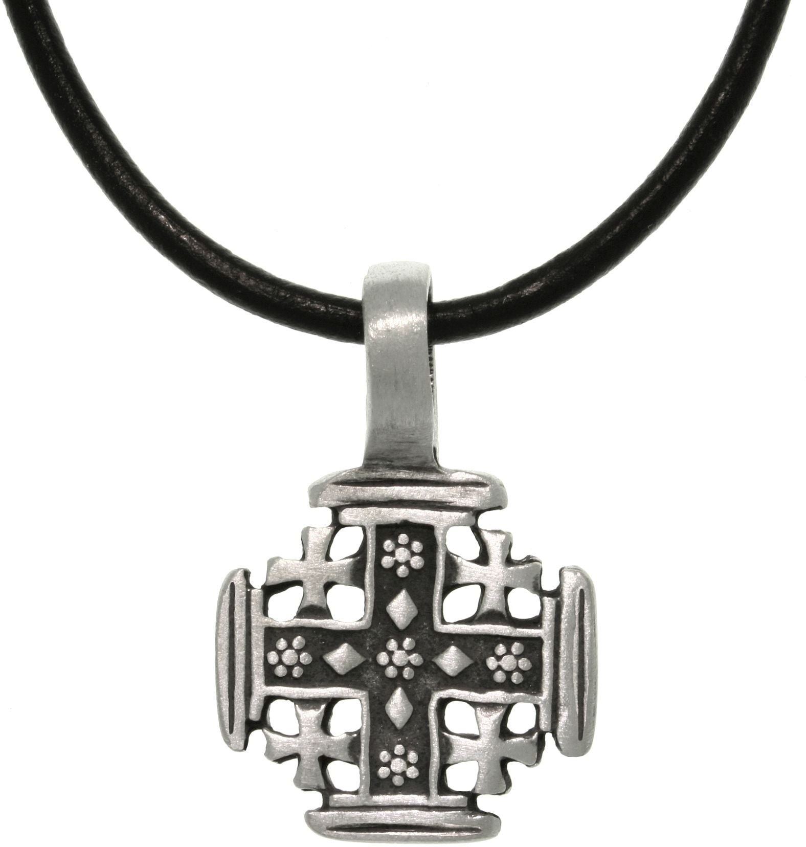Jewelry Trends Pewter Five Cross Pendant with 18 Inch Black Leather Cord Necklace