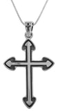 Jewelry Trends Sterling Silver Gothic Cross Pendant on 18 Inch Box Chain Necklace