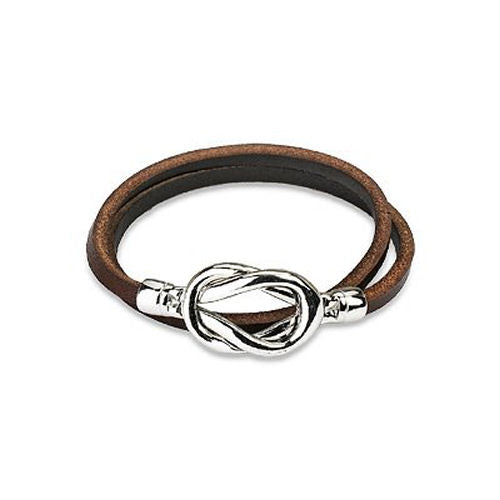 Jewelry Trends Brown Genuine Leather Silver-tone Magnetic Steel Knot Closure Wrap Bracelet