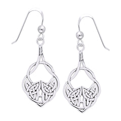 Jewelry Trends Sterling Silver Celtic Teardrop Knot Work Dangle Earrings Irish Jewelry