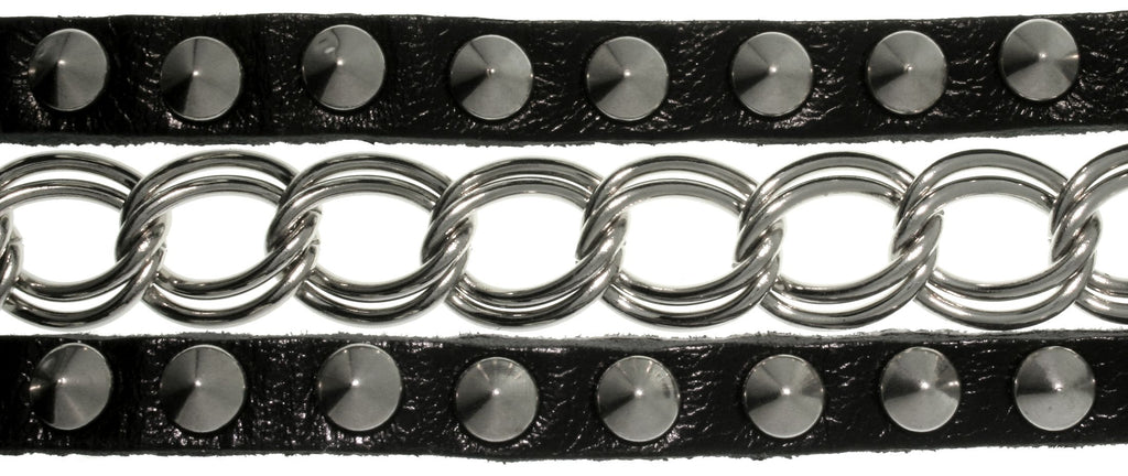Jewelry Trends Silvertone Metal and Black Leather Stud Bracelet