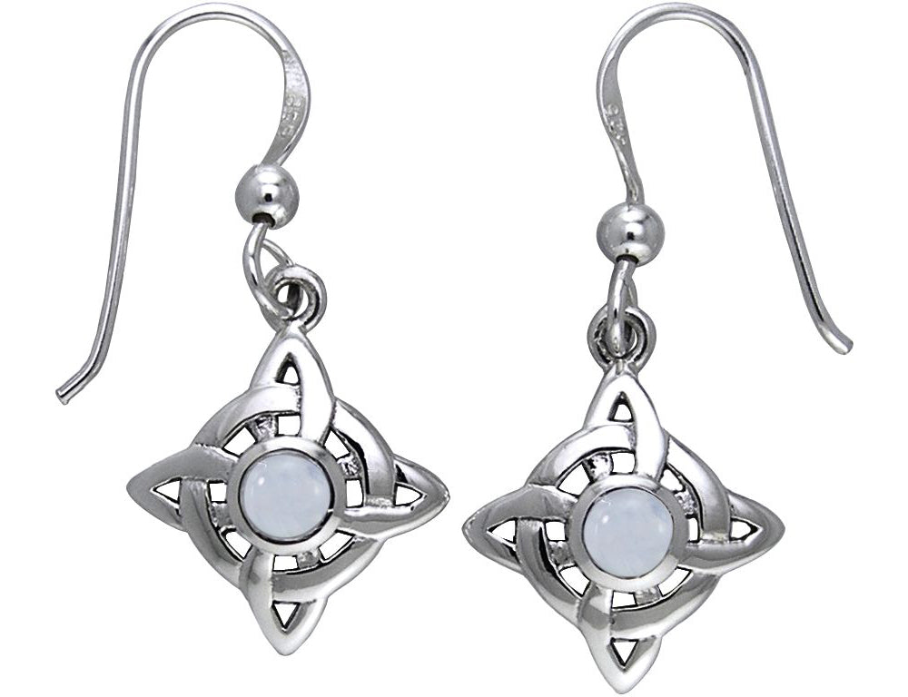 Jewelry Trends Sterling Silver with Rainbow Moonstone Celtic Quaternary Luck Knot Dangle Earrings