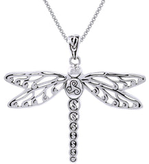 Jewelry Trends Sterling Silver Celtic Triskele Dragonfly Pendant on 18 Inch Box Chain Necklace
