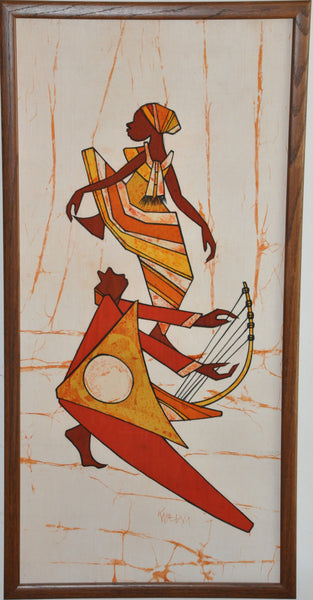 "Framed Original African Tapestry Drawing Ink on Linen 38"" x 18"""