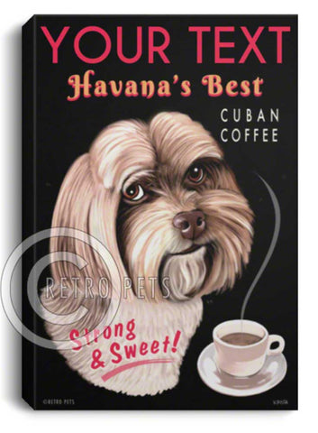 havanese art, havanese art print, havanese canvas, personalized havanese, custom dog art, custom havanese art, gift for havanese lover, retro pets, krista brooks, cuban coffee