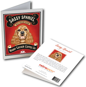 "Cocker Spaniel Art ""Sassy Spaniel Coffee"" 6 Small Greeting Cards by Krista Brooks"