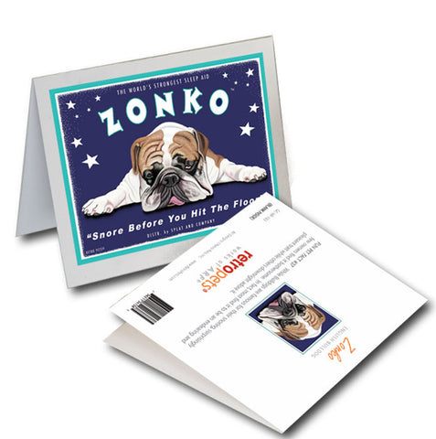 "Bulldog Art ""Zonko"" 6 Small Greeting Cards by Krista Brooks"