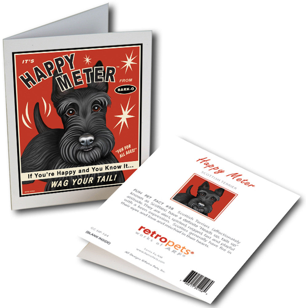 "Scottish Terrier Art ""Happy Meter"" 6 Small Greeting Cards by Krista Brooks"