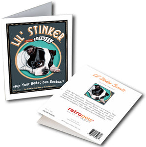 "Boston Terrier Art ""Lil' Stinker Biscuits"" 6 Small Greeting Cards by Krista Brooks"