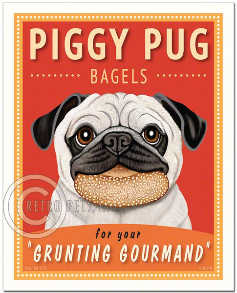 "Fawn Pug Art ""Piggy Pug Bagels"" Art Print by Krista Brooks"