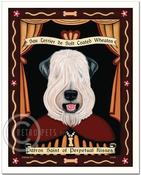 "Wheaten Terrier Art ""Saint of Perpetual Kisses"" Show-cut - Patron Pooch Art Print by Krista Brooks"