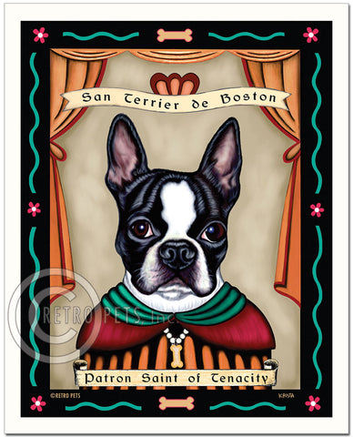 "Boston Terrier Art ""Patron Saint of Tenacity"" Art Print by Krista Brooks"