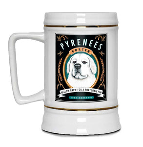 "Great White Pyrenees Art ""Pyrenees Porter"" 22oz. Beer Stein"