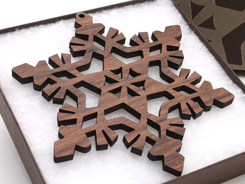 "2016 NEW Detailed 5"" Wood Snowflake Ornament Gift Box - Design F - Nestled Pines - 1"