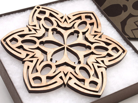"2016 NEW Detailed 5"" Wood Snowflake Ornament Gift Box - Design G - Nestled Pines - 1"