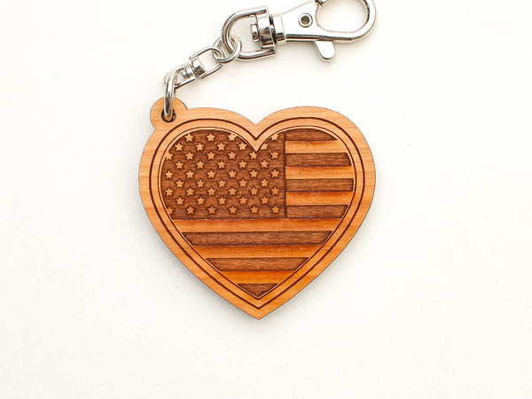 Old Glory Distilling American Flag Heart Key Chain