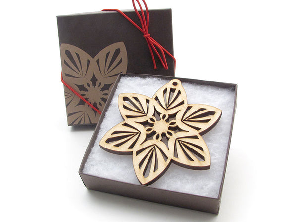 "Detailed 3 1/2"" Wood Snowflake Ornament Gift Box - Design A - Nestled Pines - 2"