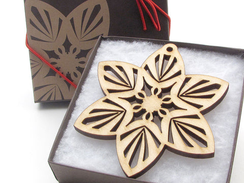 "Detailed 3 1/2"" Wood Snowflake Ornament Gift Box - Design A - Nestled Pines - 1"