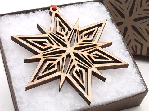 "2016 NEW Detailed 3 1/2"" Wood Snowflake Ornament Gift Box - Design B - Nestled Pines - 1"
