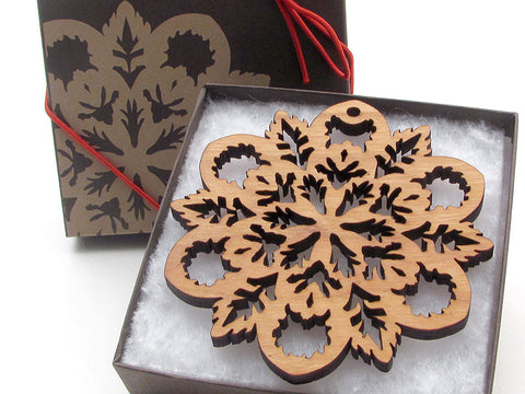 "Detailed 3 1/2"" Wood Snowflake Ornament Gift Box - Design B - Nestled Pines - 1"