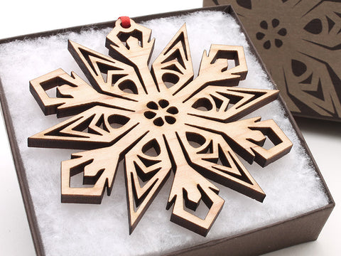 "2016 NEW Detailed 3 1/2"" Wood Snowflake Ornament Gift Box - Design C - Nestled Pines - 1"