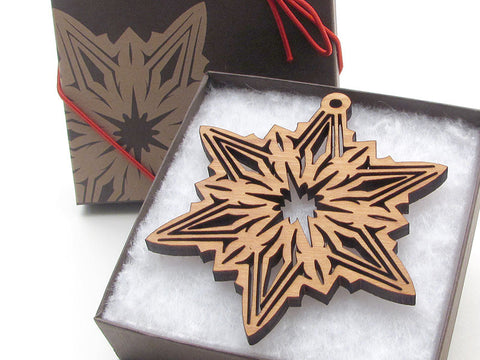 "Detailed 3 1/2"" Wood Snowflake Ornament Gift Box - Design C - Nestled Pines - 1"