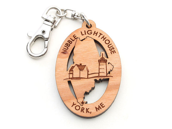 Nubble Lighthouse Maine State Logo Key Chain