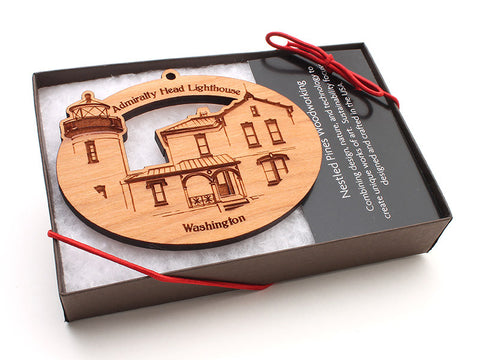 Admiralty Head Lighthouse Oval Custom Ornament Boxed - Nestled Pines