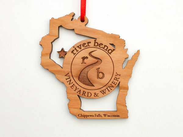 River Bend Vineyard & Winery Wisconsin State Ornament