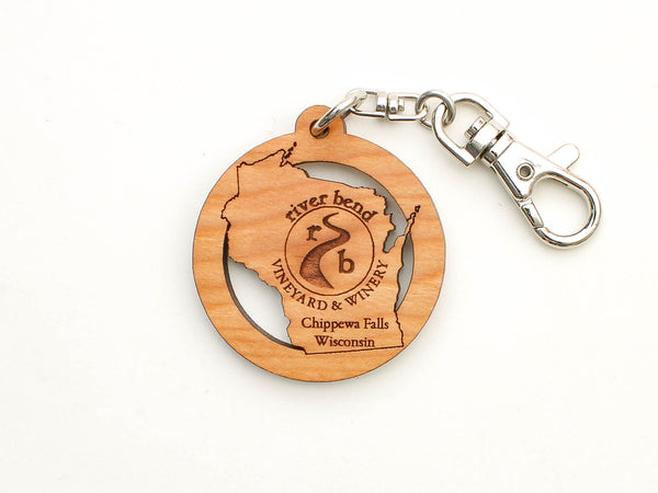 River Bend Vineyard & Winery Wisconsin State Key Chain