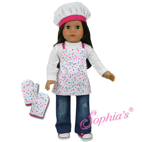 Polka Dot Apron, Chef's Hat & Oven Mitts