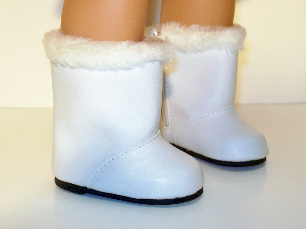 White Snow Boots with Fur Trim